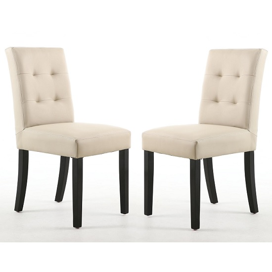Artois Dining Chair In Ivory Matt Bonded Leather And Brown Legs