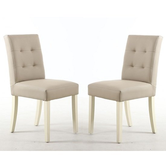 Artois Dining Chair In Ivory Matt Bonded Leather And Cream Legs