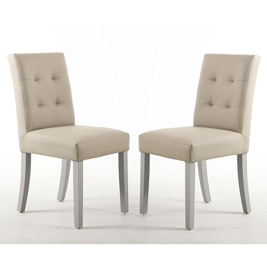 Artois Dining Chair In Ivory Matt Bonded Leather And Grey Legs