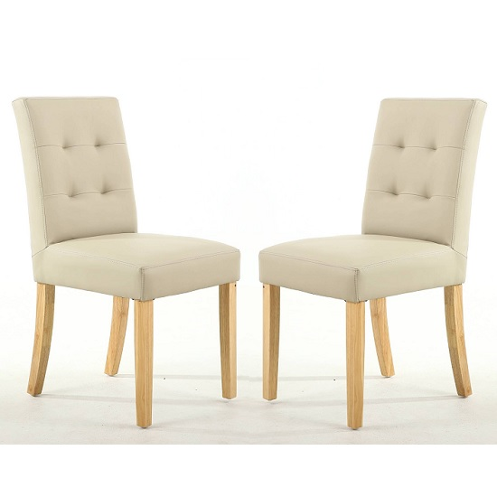 Artois Dining Chair In Ivory Matt Bonded Leather And Natural Leg