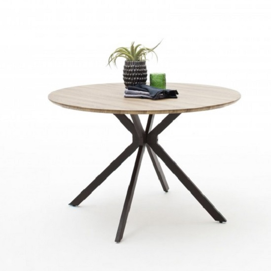 Artois Wooden Dining Table Round In Wild Oak And Anthracite Legs