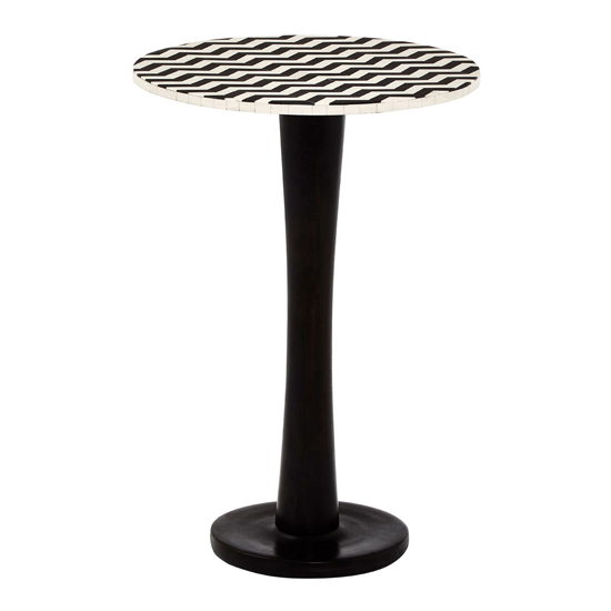 Artok Round Wooden Side Table With Black Pedestal