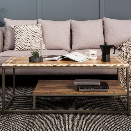 Artok Wooden Coffee Table In Natural With Black Legs