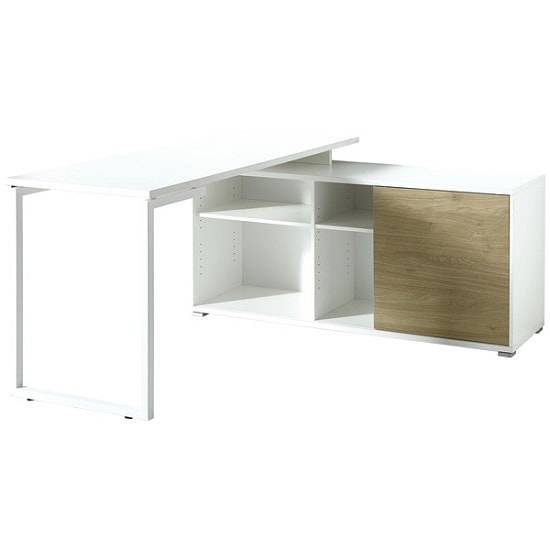 Artur Corner Computer Desk In White Kendal Oak And Metal_3