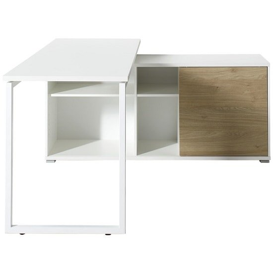 Artur Corner Computer Desk In White Kendal Oak And Metal_2