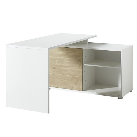 Artur Corner Computer Desk In White And Kendal Oak With Storage_2