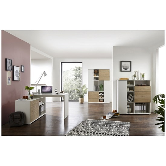 Artur Corner Computer Desk In White And Kendal Oak With Storage_3