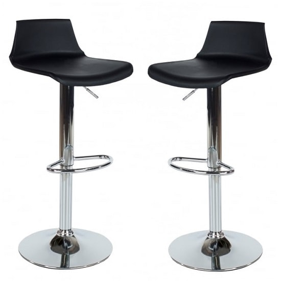 Arturo Bar Stools In Black ABS With Chrome Base In A Pair