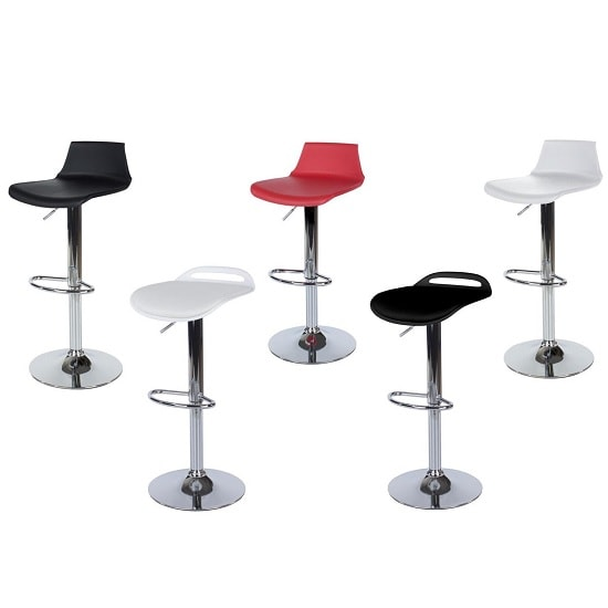 Arturo Padded Bar Stools In Black With Chrome Base In A Pair_3