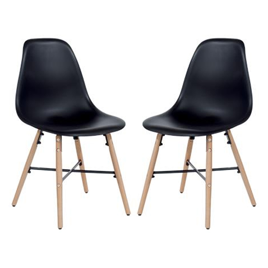 Arturo Black Bistro Chair In Pair With Oak Wooden Legs