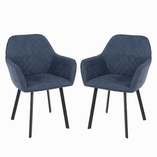 Arturo Blue Fabric Dining Armchair With Black Metal Leg In Pair