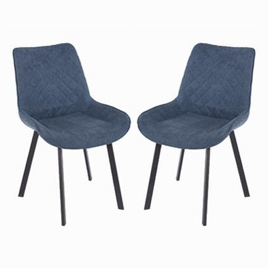 Arturo Blue Fabric Dining Chair With Metal Black Legs In Pair