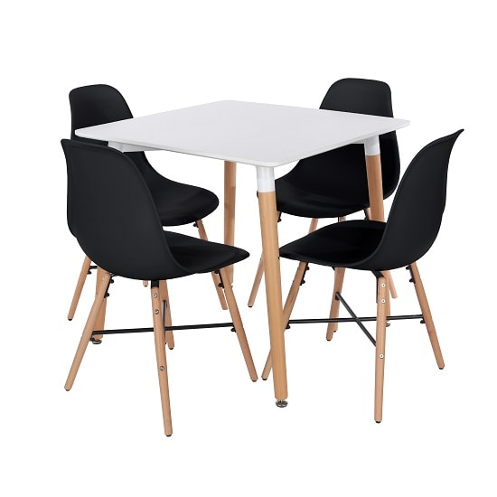 Arturo Bistro Table Square In White With 4 Black Chairs