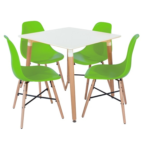 Arturo Bistro Table Square In White With 4 Green Chairs