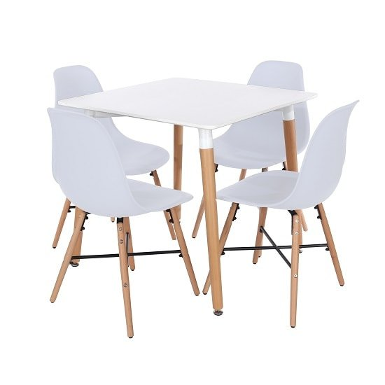 Arturo Square Bistro Table Set In White With 4 Chairs