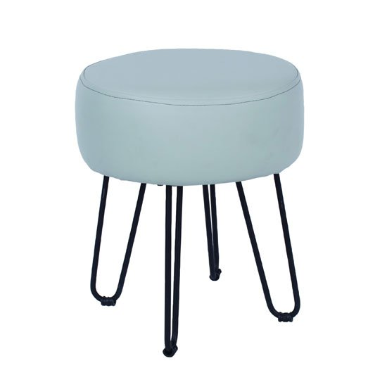 Arturo PU Leather Round Grey Stool With Metal Legs