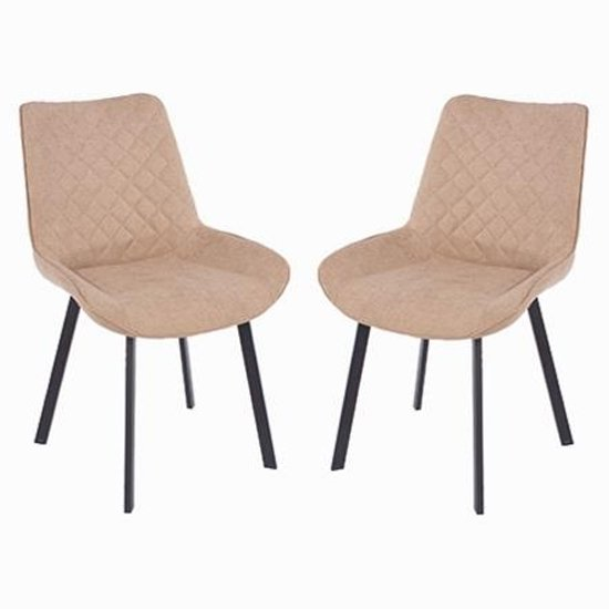 Arturo Fabric Sand Dining Chair In Pair With Metal Black Legs