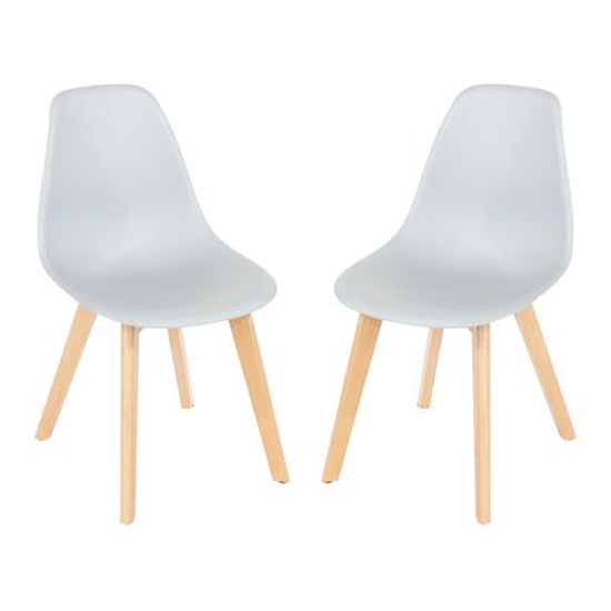 Arturo Grey Bistro Chair In Pair With Wooden Legs