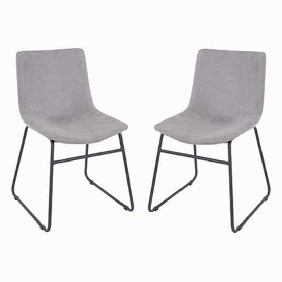 Arturo Grey Fabric Dining Chair In Pair With Black Metal Legs_1