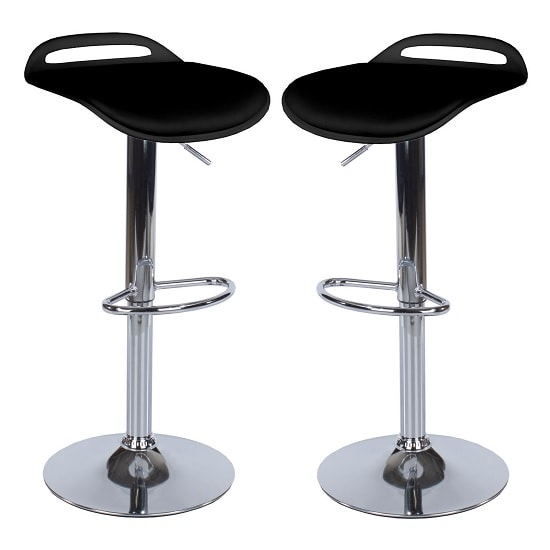Arturo Padded Bar Stools In Black With Chrome Base In A Pair