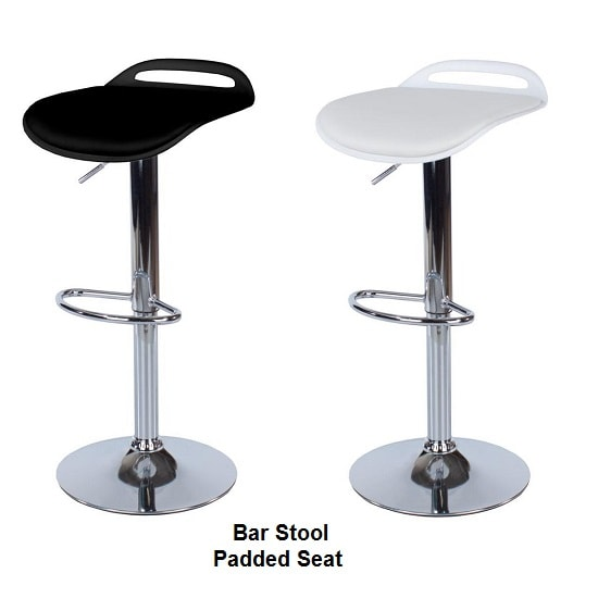 Arturo Padded Bar Stools In Black With Chrome Base In A Pair_2