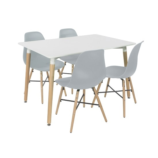 Arturo Dining Table Rectangular In White With 4 Grey Chairs