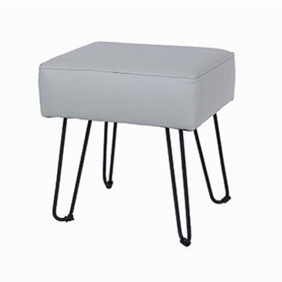 Arturo Rectangular Grey PU Stool With Black Metal Legs