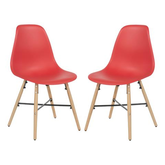 Arturo Red Bistro Chair With Oak Wooden Legs In Pair
