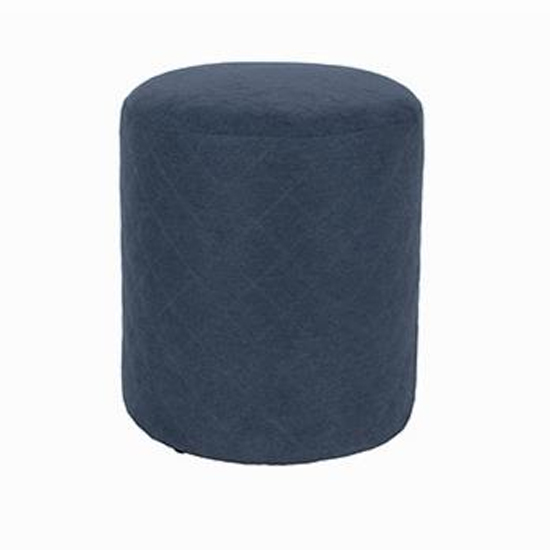 Arturo Upholstered Round Fabric Stool In Blue