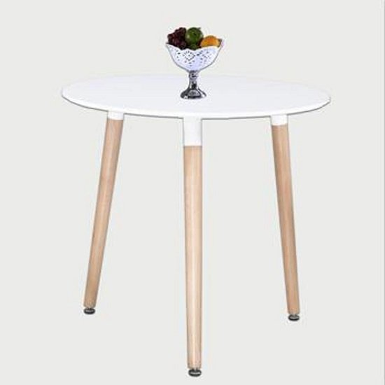 Arturo Round Bistro Dining Table In White With Beech Finish Legs