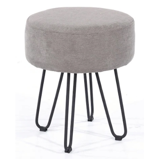 View Arturo round fabric stool in grey with metal legs