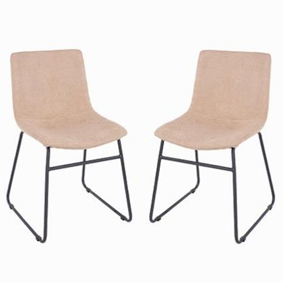 Arturo Sand Fabric Dining Chair In Pair With Black Metal Legs