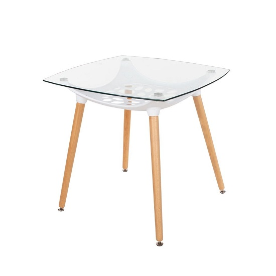 Arturo Square Glass Bistro Dining Table With Beech Finish Legs