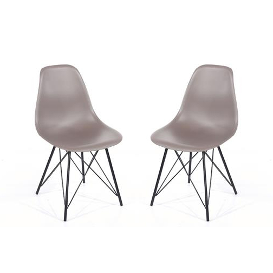 Arturo Truffle Bistro Chair With Black Metal Legs In Pair