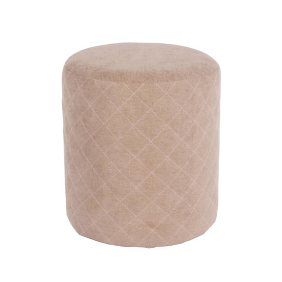 Arturo Upholstered Round Fabric Stool In Sand