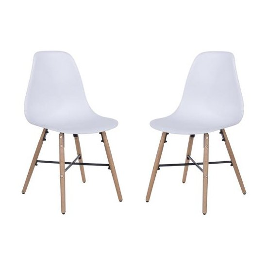 Arturo White Bistro Chair With Oak Wooden Legs In Pair