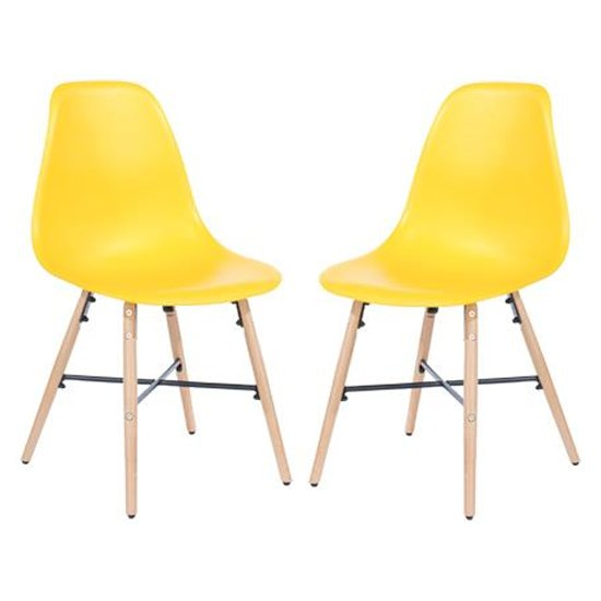 Arturo Yellow Bistro Chair In Pair With Oak Wooden Legs