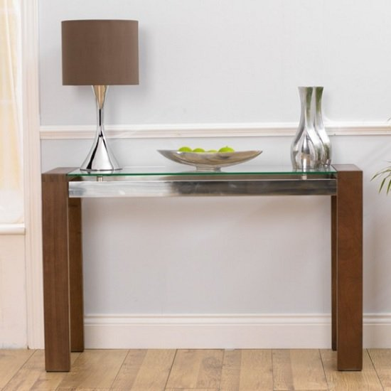 Read more about Arturo glass console table rectangular in clear and walnut