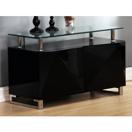 Aruba Glass Top Sideboard In Black High Gloss With 2 Doors