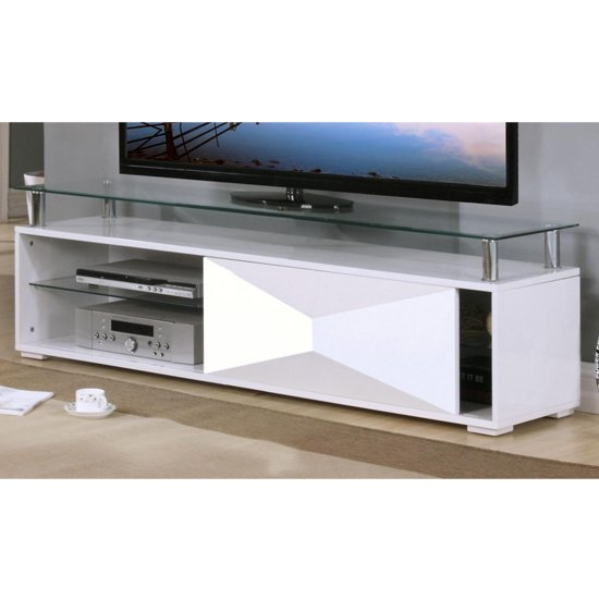 Aruba Glass Top TV Stand In White High Gloss