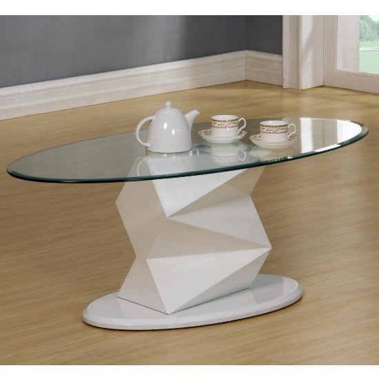Glass Coffee Table White Base 4