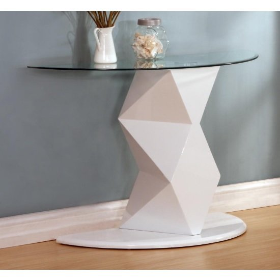 Aruba Glass Console Table In Clear With White High Gloss Base
