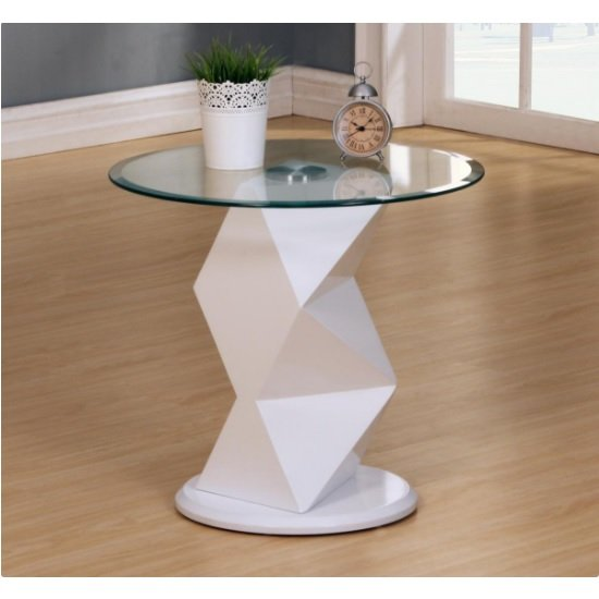 Aruba Glass Lamp Table In Clear With White High Gloss Base
