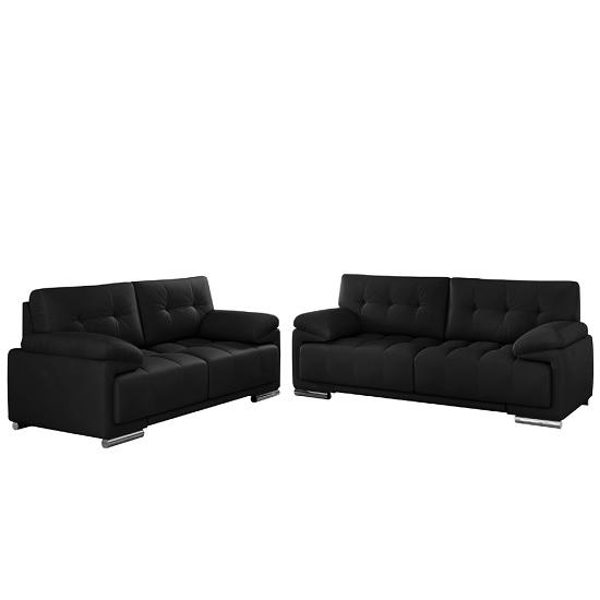 Aruba Sofa Set In Bonded Leather With Chrome Feet