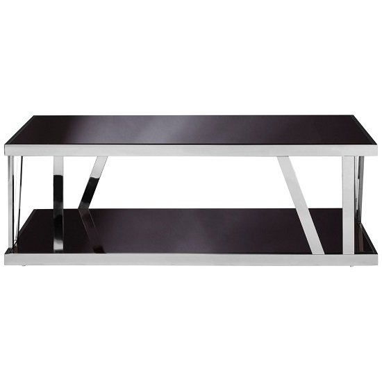 Aruan Black Glass Coffee Table With Stainless Steel Frame