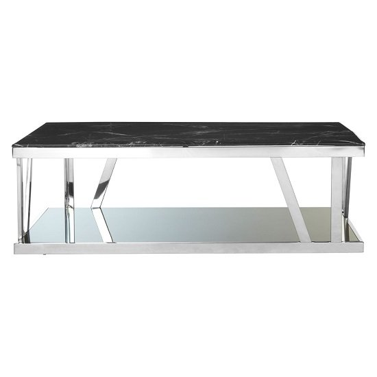 Aruna Black Marble Top Coffee Table With Stainless Steel Frame