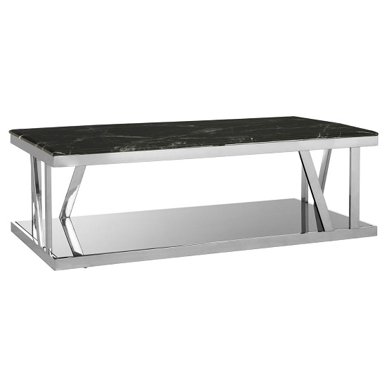 Aruan Black Marble Top Coffee Table With Stainless Steel Frame  _2
