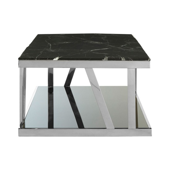 Aruan Black Marble Top Coffee Table With Stainless Steel Frame  _3