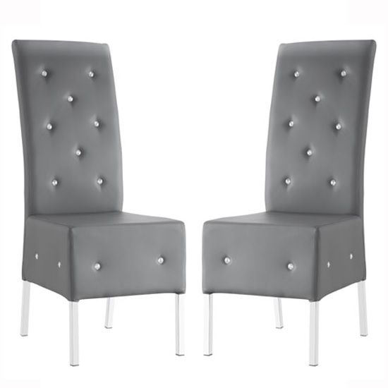 Asam Dining Chair In Grey Faux Leather in A Pair