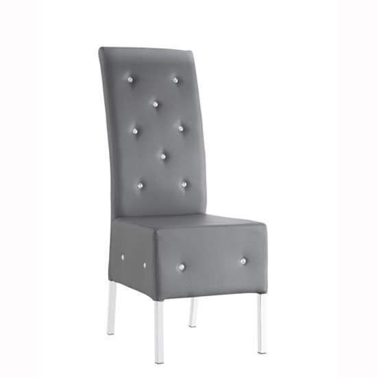 Asam Dining Chair In Grey Faux Leather With Chrome Base